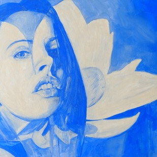 THE LOTUS / HIGH VIBRATIONS EMITTER ii by Varun Kapoor, Expressionism Painting, Acrylic on Canvas, Blue color