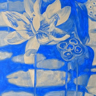 THE LOTUS / HIGH VIBRATIONS EMITTER iii by Varun Kapoor, Expressionism Painting, Acrylic on Canvas, Blue color