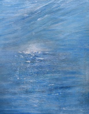 Promise of the Morning by Mahesh Sharma, Abstract Painting, Acrylic on Canvas, Blue color