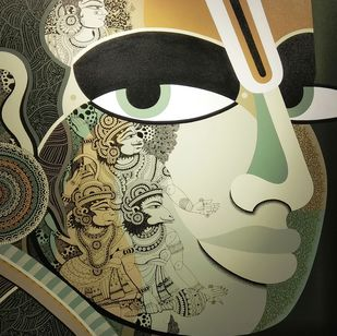 Lord Rama by Bolgum Nagesh Goud, Expressionism Painting, Acrylic & Ink on Canvas, Beige color