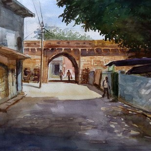 summer time by Ram Kumar Maheshwari, Impressionism Painting, Watercolor on Paper, Brown color