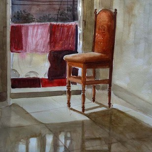 WAITING FOR ME by Ram Kumar Maheshwari, Impressionism Painting, Watercolor on Paper, Brown color