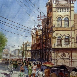 Beginning of summer by Ram Kumar Maheshwari, Impressionism Painting, Watercolor on Paper, Brown color