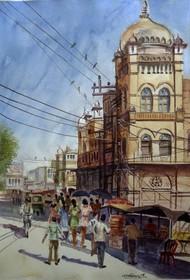 Beginning of summer by Ram Kumar Maheshwari, Impressionism Painting, Watercolor on Paper, Brown color