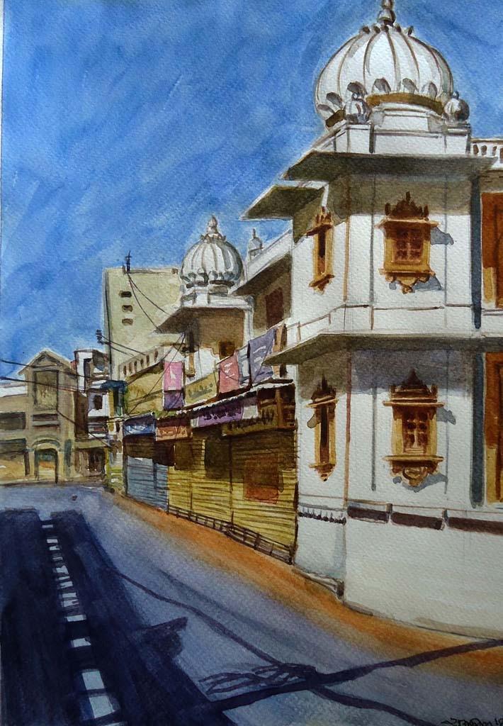 DUTT TEMPLE STREET by Ram Kumar Maheshwari, Impressionism Painting, Watercolor on Paper, Brown color