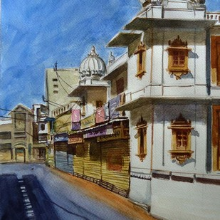 DUTT TEMPLE STREET by Ram Kumar Maheshwari, Impressionism Painting, Watercolor on Paper, Brown color
