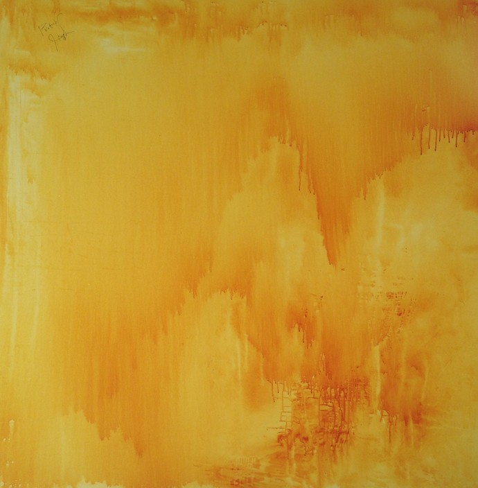 The sun is setting down on me - And I am going home for nothing by PRATAP SINGH, Abstract Painting, Acrylic on Canvas, Orange color
