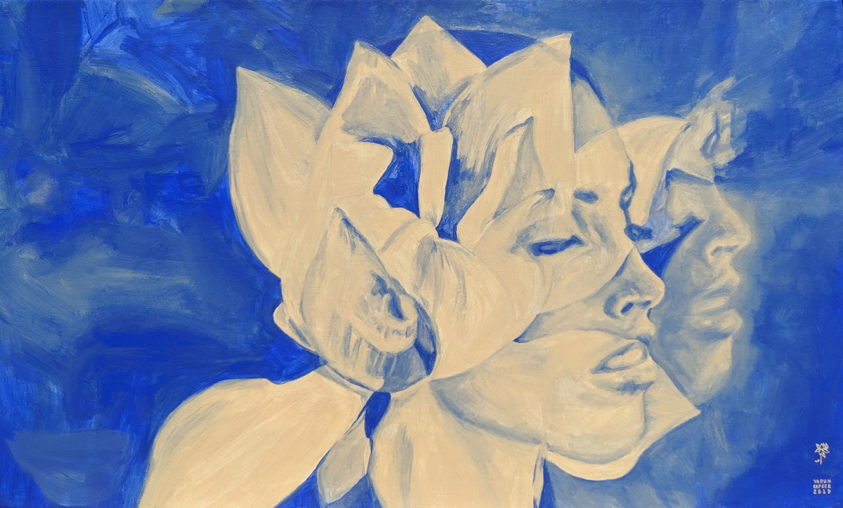 THE LOTUS / HIGH VIBRATIONS EMITTER vi by Varun Kapoor, Expressionism Painting, Acrylic on Canvas, Blue color