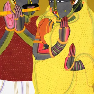 Untitled by Thota Vaikuntam, Expressionism Serigraph, Digital Print on Canvas, Brown color
