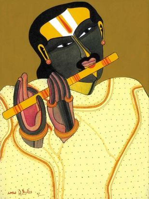 Untitled by Thota Vaikuntam, Expressionism Serigraph, Digital Print on Canvas, Beige color