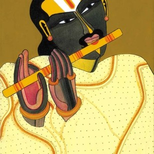 Untitled by Thota Vaikuntam, Expressionism Serigraph, Digital Print on Canvas, Beige color
