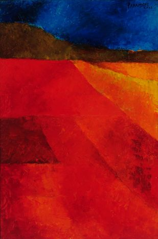 Untitled by Akbar Padamsee, Abstract Serigraph, Digital Print on Canvas, Red color