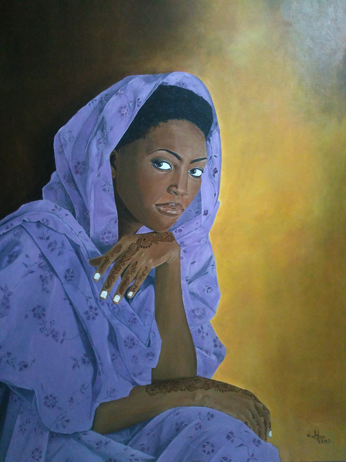 Beautiful Woman by Nilofar, Expressionism Painting, Oil on Canvas, Blue color