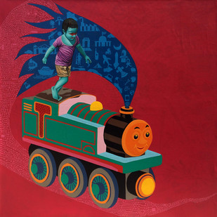The Train by Jitendra Saini, Expressionism Painting, Mixed Media on Canvas, Red color