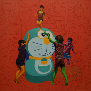 Recreating Childhood by Jitendra Saini, Expressionism Painting, Mixed Media on Canvas, Brown color