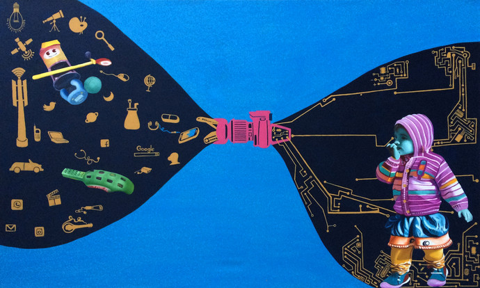 Choose Your Future by Jitendra Saini, Expressionism Painting, Mixed Media on Canvas, Blue color