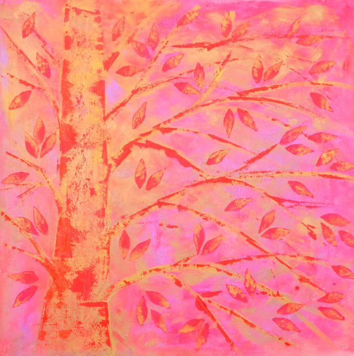 soul tree : ethereal by Cheena Madan, Impressionism Painting, Acrylic on Canvas, Pink color