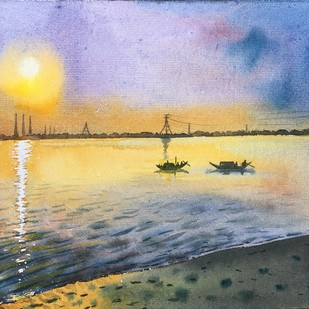 sunset by SOUMI JANA, Impressionism Painting, Watercolor on Paper, Beige color