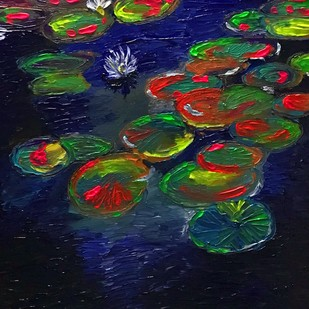 Lily Pads by Konika Banerjee, Expressionism Painting, Oil on Canvas, Blue color