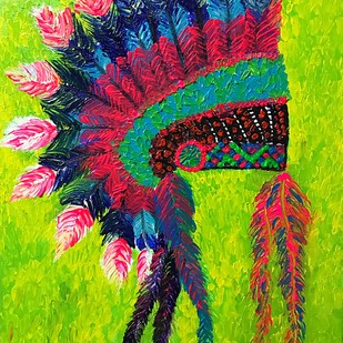 The Head Dress by Konika Banerjee, Expressionism Painting, Oil on Canvas, Green color
