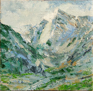 Himalaya: the Eternal Sentinel by Animesh Roy, Impressionism Painting, Oil on Linen, Green color