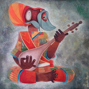 Faquir 01 by Sekhar Basu, Expressionism Painting, Tempera on Canvas Board, Brown color