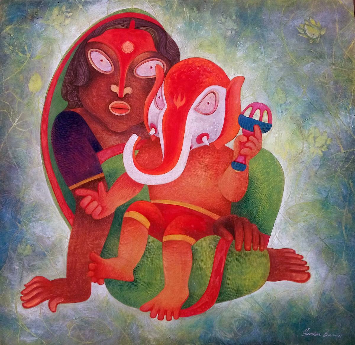 Mother and Child by Sekhar Basu, Expressionism Painting, Tempera on Canvas Board, Brown color