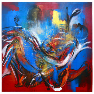 The Last Leaf by Mrinmoy Barua, Abstract Painting, Acrylic on Canvas, Blue color