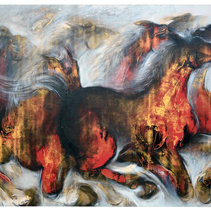 Wild Horse by Mrinmoy Barua, Expressionism Painting, Acrylic on Canvas, Brown color