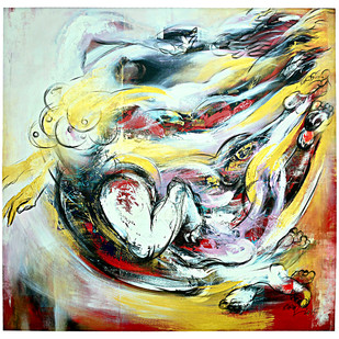 Freedom by Mrinmoy Barua, Abstract Painting, Acrylic on Canvas, Beige color