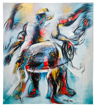 Celebration by Mrinmoy Barua, Abstract Painting, Acrylic on Canvas, Gray color