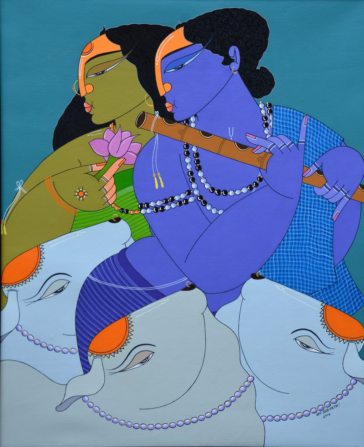 Untitled by Apu Debnath Banga, Expressionism Painting, Acrylic on Canvas, Blue color