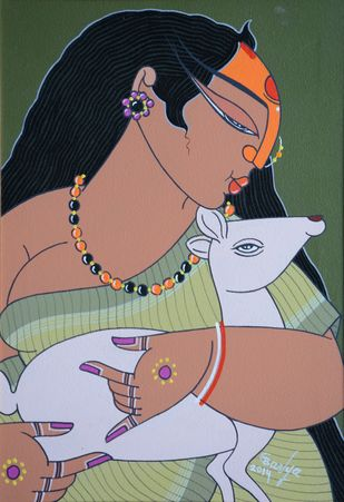 Untitled by Apu Debnath Banga, Expressionism Painting, Acrylic on Canvas, Brown color