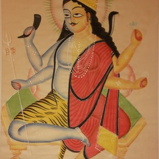 Untitled (kalighat painting) by KALAM PATUA, Folk Painting, Watercolor on Paper, Brown color