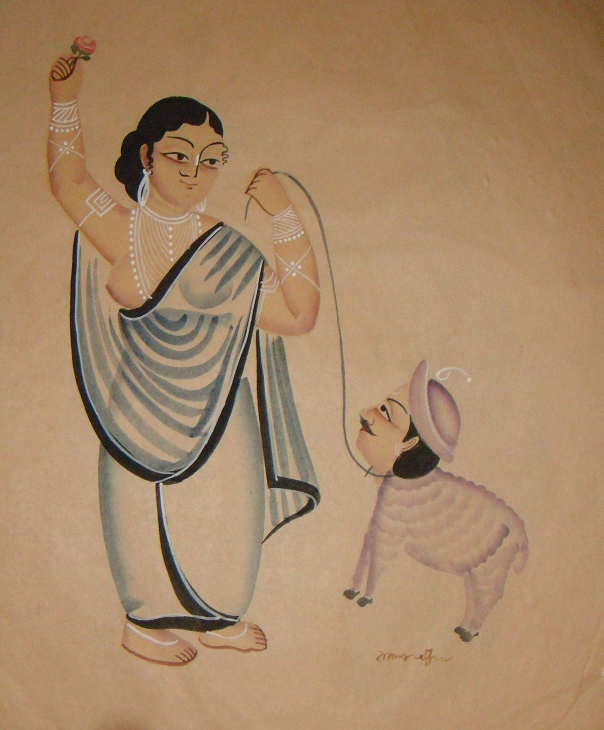 Untitled(kalighat) by KALAM PATUA, Folk Painting, Watercolor on Paper, Beige color