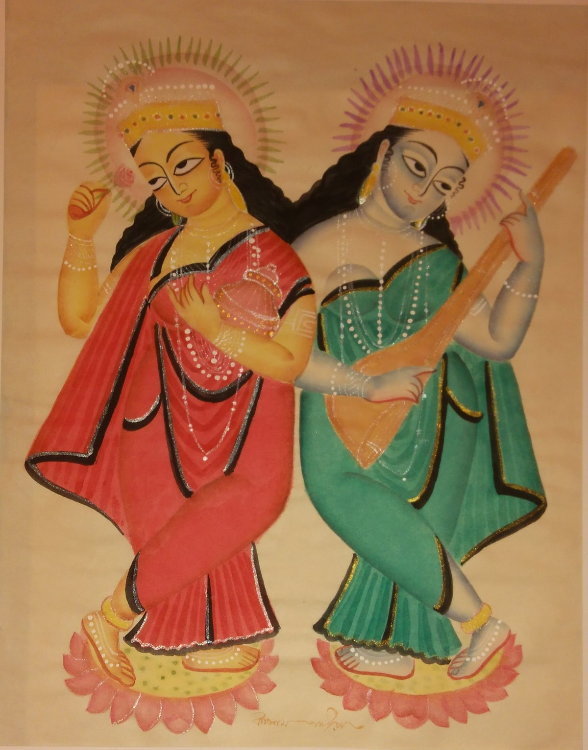 Untitled by KALAM PATUA, Folk Painting, Watercolor on Paper, Brown color