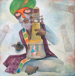 Sarangi Player by Sekhar Basu, Impressionism Painting, Tempera on Canvas Board, Gray color