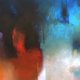Involution by Ganpat N Bhadke, Abstract Painting, Acrylic on Canvas, Blue color