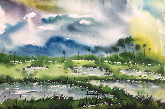 After rain by SOUMI JANA, Impressionism Painting, Watercolor on Paper, Green color