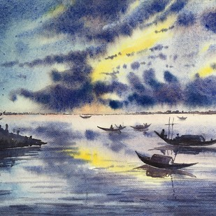 river 2 by SOUMI JANA, Impressionism Painting, Watercolor on Paper, Gray color