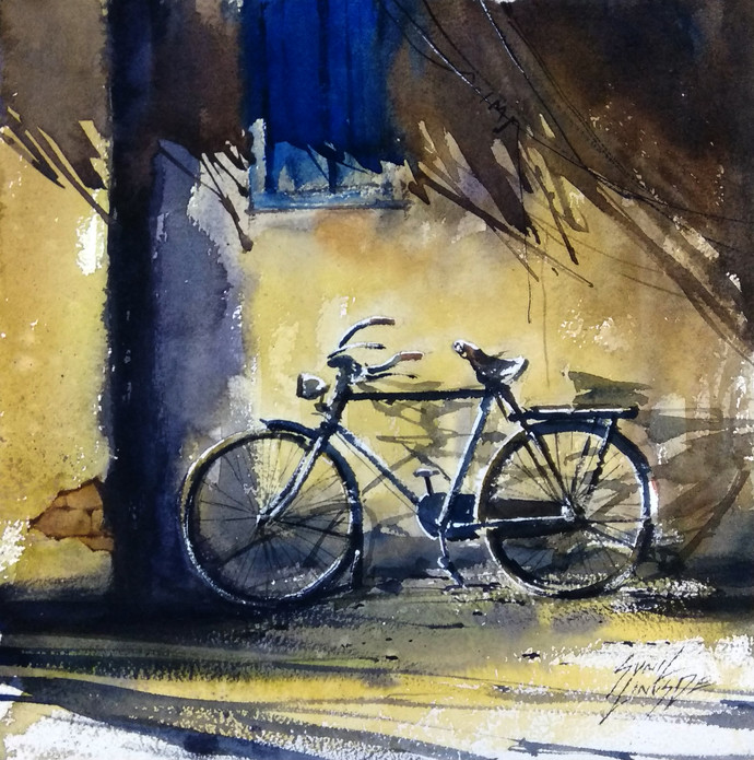 Bicycle by Sunil Linus De, Impressionism Painting, Watercolor on Paper, Beige color