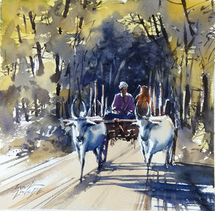Village Path 2 by Sunil Linus De, Impressionism Painting, Watercolor on Paper, Beige color