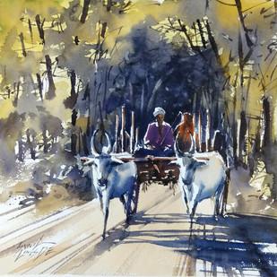 Village Path 2 by Sunil Linus De, Impressionism Painting, Watercolor on Paper, Beige color
