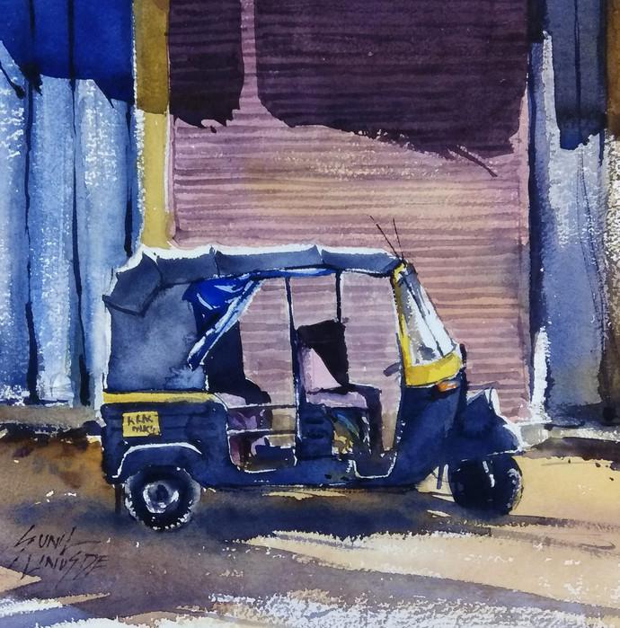 Autoriksha by Sunil Linus De, Impressionism Painting, Watercolor on Paper, Blue color
