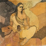 parvati by Siddharth Shingade, Expressionism Painting, Acrylic on Canvas, Brown color
