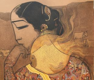 Golfish by Siddharth Shingade, Traditional Painting, Acrylic on Canvas, Brown color