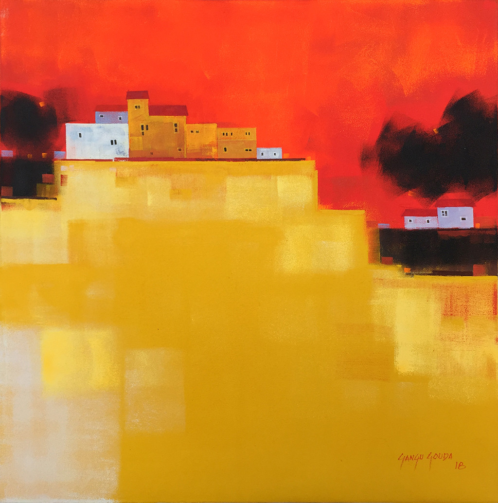 Untitled 01 by Gangu Gouda, Abstract Painting, Acrylic on Canvas, Orange color