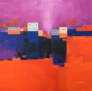 Untitled 02 by Gangu Gouda, Abstract Painting, Acrylic on Canvas, Purple color