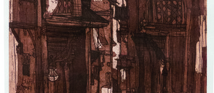 untitled by Vrindavan Solanki, Illustration Painting, Etching on Paper, Brown color