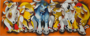 meeting by Uttam Manna, Expressionism Painting, Acrylic on Canvas, Brown color